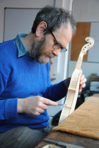 Filing edgework on a baroque violin